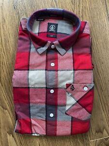 Volcom Stone Plaid Check Long Sleeve Shirt Red