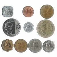 10 COINS FROM PHILIPPINES, ASIAN OLD COLLECTIBLE FILIPINO MONEY SENTIMOS PISO