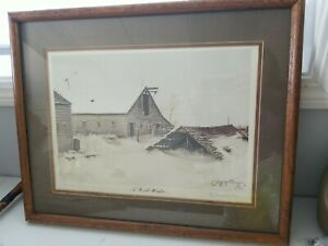 """Gary P. Miller Framed Print """"A Cold Winter"""" 1974. Signed & numbered"""