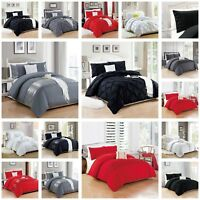 Duvet Quilt Cover White Grey Bedding Set With Pillowcase Single Double King Size