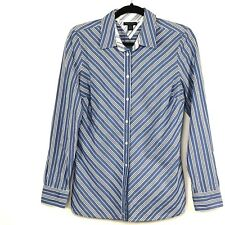 Tommy Hilfiger Womens Top Long Sleeve Blue Striped 100% Cotton Size Medium