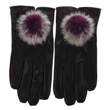 Women 's Fashion PU Leather Cashmere 3 Colors Warm Winter Gloves Elegant PF