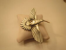 Vintage Humming Bird Brooch Pewter with Gold Tone Accents