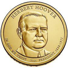 "Presidential Dollar Uncirculated Roll 25 "" P "" Mint #31 2014 Herbert C Hoover"