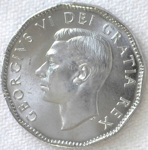 1952 Canada 5 Cent Coin Chromium & Nickel Plated Steel Brilliant Uncirculated