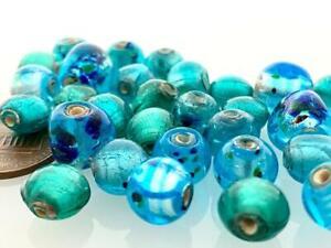Vintage Aqua Greens Blues Foil Lampwork Glass Beads Mix India 30