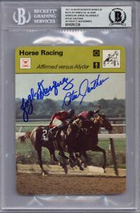 JORGE VELASQUEZ & STEVE CAUTHEN SIGNED #4214 SPORTSCASTER CARD RARE BECKETT BAS