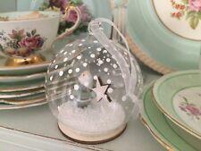 Glass snow globe grey wooden SANTA & STAR Christmas tree GLASS BAUBLE decoration