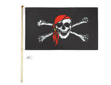 5' Wood Flag Pole Kit Wall Mount Bracket With 3x5 Pirate Red Hat Polyester Flag