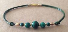 Gold Tone Plated, Friendship Bracelet Graduated Malachite, Green Leather Cord,