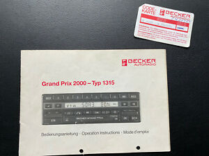 Orig. Becker Grand Prix 2000 - Typ 1315 Bedienungsanleitung mit Code Karte