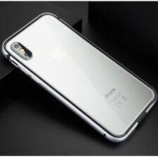 For iPhone Xs Max Xr X Aluminum Metal Bumper Temper Glass Clear Back Case Cover