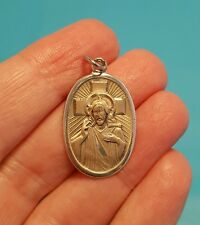"Vintage Sterling Silver Jesus Medallion ""I Am Greek Orthodox"" Pendant Bracelet"