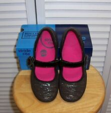 STRIDE RITE Marleigh Girls Mary Jane Shoes Black Silver Youth Size 1 Medium EUC
