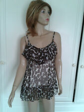 DOROTHY PERKINS BROWN & WHITE SPOTTED SEMI SHEER TOP SIZE 14 {12} LINED FRILLED