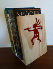 Southwestern Bookends Rustic Wood w/ Metal Kokopelli Pair Set Wooden Book Ends