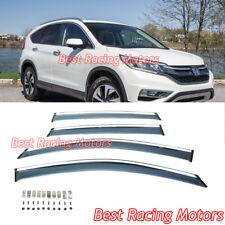 JDM Style Side Window Visors + Chrome Molding Trims + Clips Fit 12-16 Honda CR-V