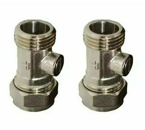 """Chrome Isolating Valve 15mm x 1/2"""" Flat Faced For Flexible Tap Connectors Pair"""