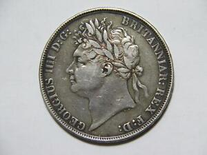 GREAT BRITAIN 1821 CROWN KING GEORGE LOW GRADE SILVER WORLD COIN 🌈⭐🌈