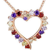 Rose Gold Plated Sterling Silver Multi-Color CZ Stone Pendant With chain incl