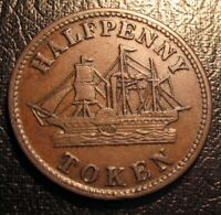 OLD CANADA TOKEN 1850 PEI HALF PENNY COIN BR.921 FISHERIES AND AGRICULTURE