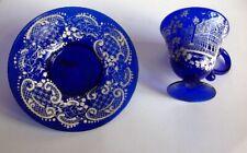 Tasse Sous Tasse verre Bleu Venise émaillé Dentelle Murano Ancienne 1930 1960