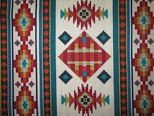 Navajo Beaded Like Floral Cream Border Print Cotton Fabric BTHY