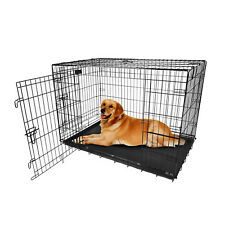 Black 2 Door Pet Cage Folding Dog Cat Crate Cage Kennel w/Tray