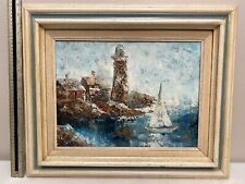 Edward Barton Impressionist Lighthouse Nautical Oil Painting
