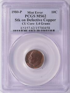 PCGS 10c 1980-P Roosevelt Dime Dual Missing Clad Layer Copper Core MS-62