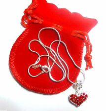 Red Rhinestone Heart Necklace in Red Pouch Valentine Gift Anniversary Birthday