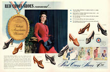 1942 WW2 era AD RED CROSS Women's Shoes Great double Page AD! 041519