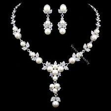 Floral Rhinestones Crystal Pearls Bridal Wedding Prom Necklace Earrings Set N338