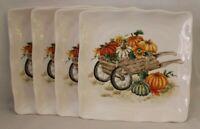 Maxcera Pumpkins & Sunflowers in Cart Thanksgiving Dinner Plates Set of Four New