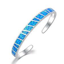 Blue Fire Opal Silver Women Jewelry Gemstone Adjust Cuff Bangle Bracelet OS479