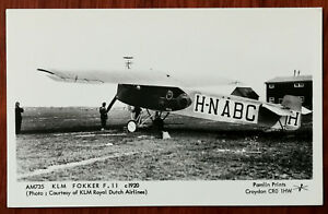 KLM Fokker F.11 c1920, Pamlin Prints AM735 Photographic Post Card