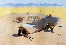 WESTERN ART POSTER Water Hole Fight -Frederic Remington