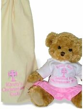 Personalised Teddy Bear Christening Baptism Holy Communion Dedication Gift + Bag