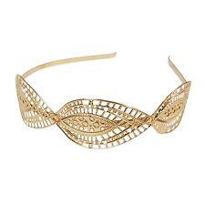 Diadema hermosa en un diseño de la hoja de filigrana en tono oro metal flexible Baile de graduación