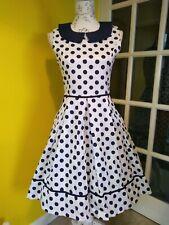 Lindy Bop Molly-Sue Navy Blue/White Polka Dot Print Swing Dress Size 8-10