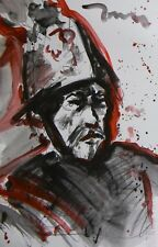 JOSE TRUJILLO SOLDIER ACRYLIC ON PAPER PAINTING PORTRAIT - AFTER REMBRANDT