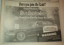 BLUE OYSTER CULT On Your Feet Or On Your Knees 1975  UK Press ADVERT 12x8 inches