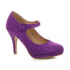 Mujer Damas Tacón Alto Mary Jane Correa De Dama De Honor Boda Fiesta Tribunal Zapatos