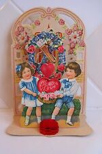 Antique 3-D Die Cut & Embossed Fold-Out Valentine w/Tissue Honeycomb
