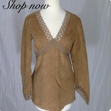 Vintage Tunic Shirt Crochet Lace Trim Boho Hippie Goddess Spring Summer