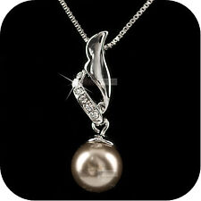 pendant necklace 18k white gold made with SWAROVSKI crystal brown pearl wedding