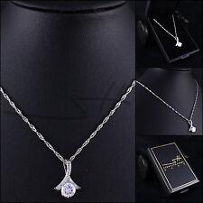 Halskette Zirkonia-Schleife, Kette Damen Weißgold, Swarovski® Kristalle, im Etui