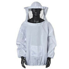 White Bee Keeper Suit Beekeeping Veil Jacket Coat Protection Outfit Hat Hood