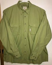 Cabelas Mens XL Green Button Shirt Outdoors Fishing Vented Long Sleeves Cotton