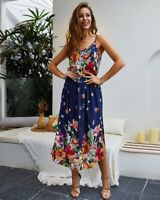 Beach Women cocktail party maxi dress floral boho evening summer sundress long